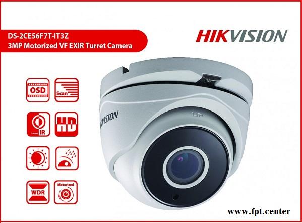 Camera HD-TVI Hikvision DS-2CE56F7T-IT3Z thay đổi tiêu cự 3 MP