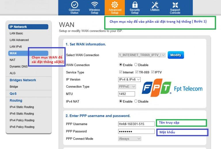 Hướng dẫn cài đặt cấu hình modem G97D2 của FPT telecom
