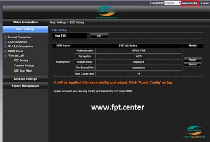 Hướng dẫu cấu hình đổi mật khẩu Wifi modem Viettel H640W GPON