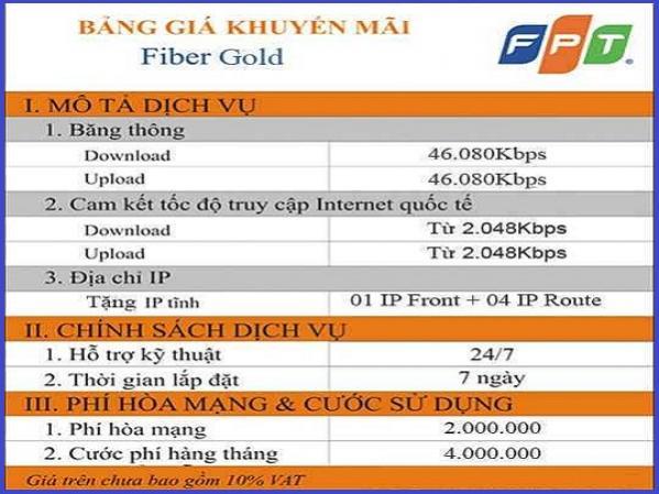 Gói cước internet cáp quang FPT Fiber Gold tốc độ 45 Mbps