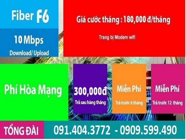 Gói cước cáp quang F6 của FPT Telecom