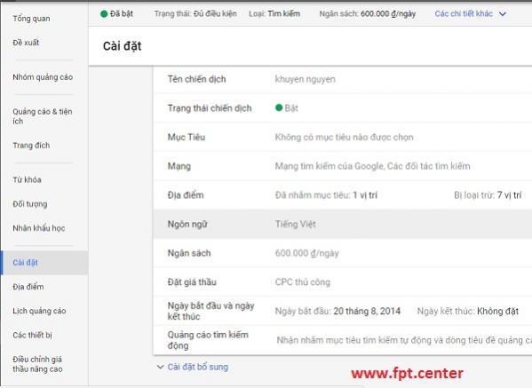 Cách Cài Đặt Ngôn Ngữ Và Vị Trí Trong Google Adwords