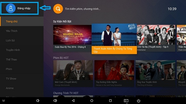 Ứng dụng FPT Play TV for Android box