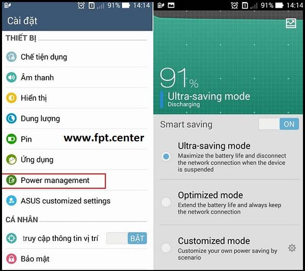 Cách bật chế độ tiết kiệm pin trên smartphone LG Sony SamSung Oppo